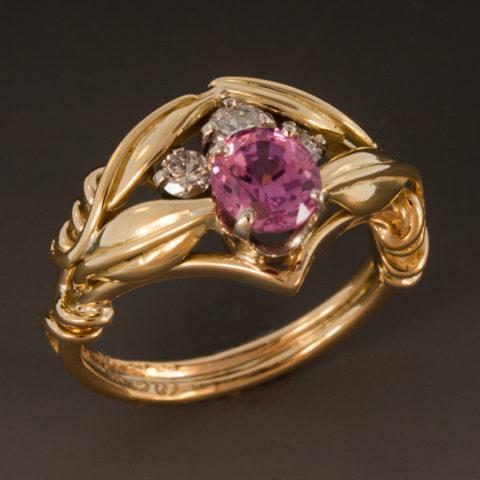 Pink Sapphire Diamond Ring 2w 040153