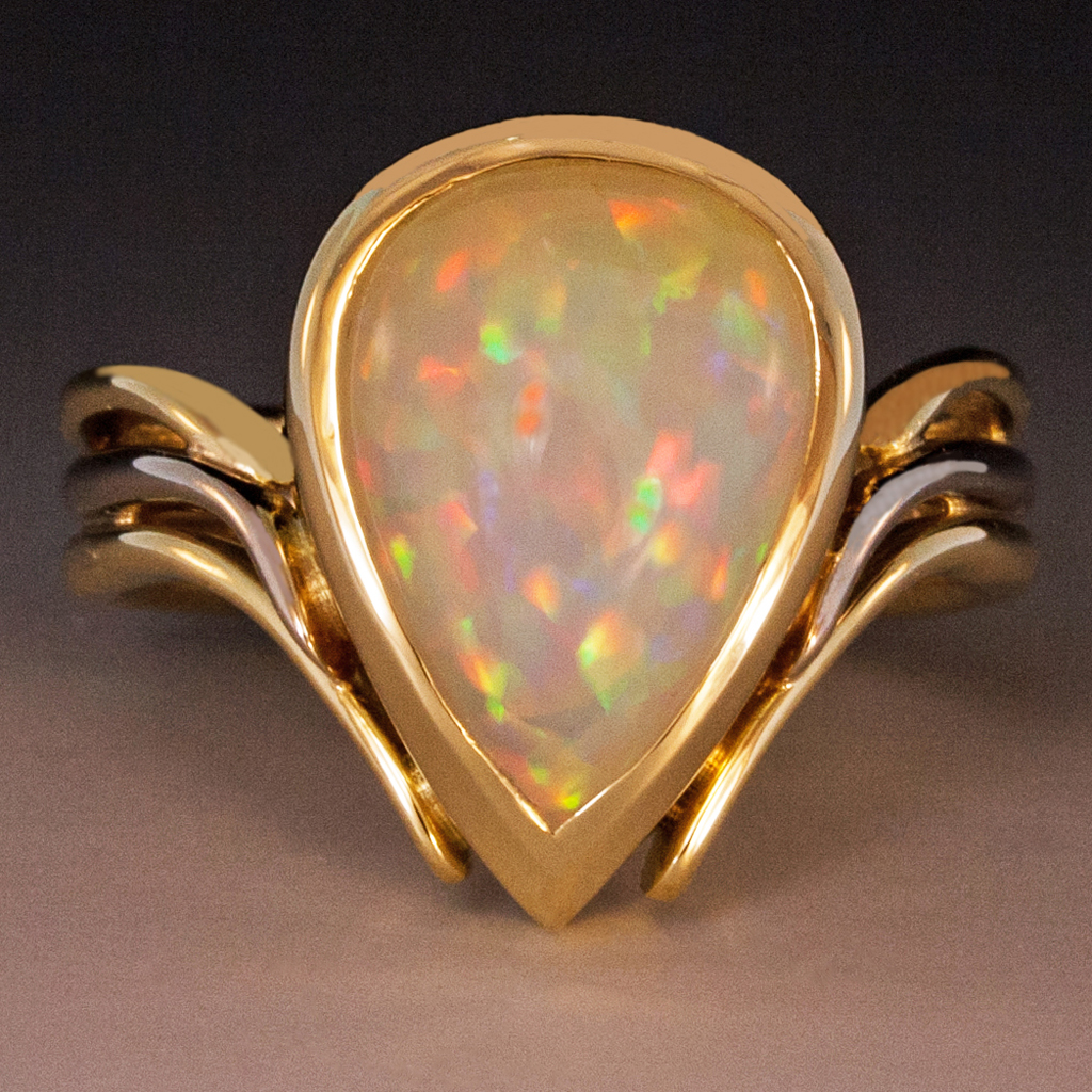 Opal Ring With Diamonds Rose Gold