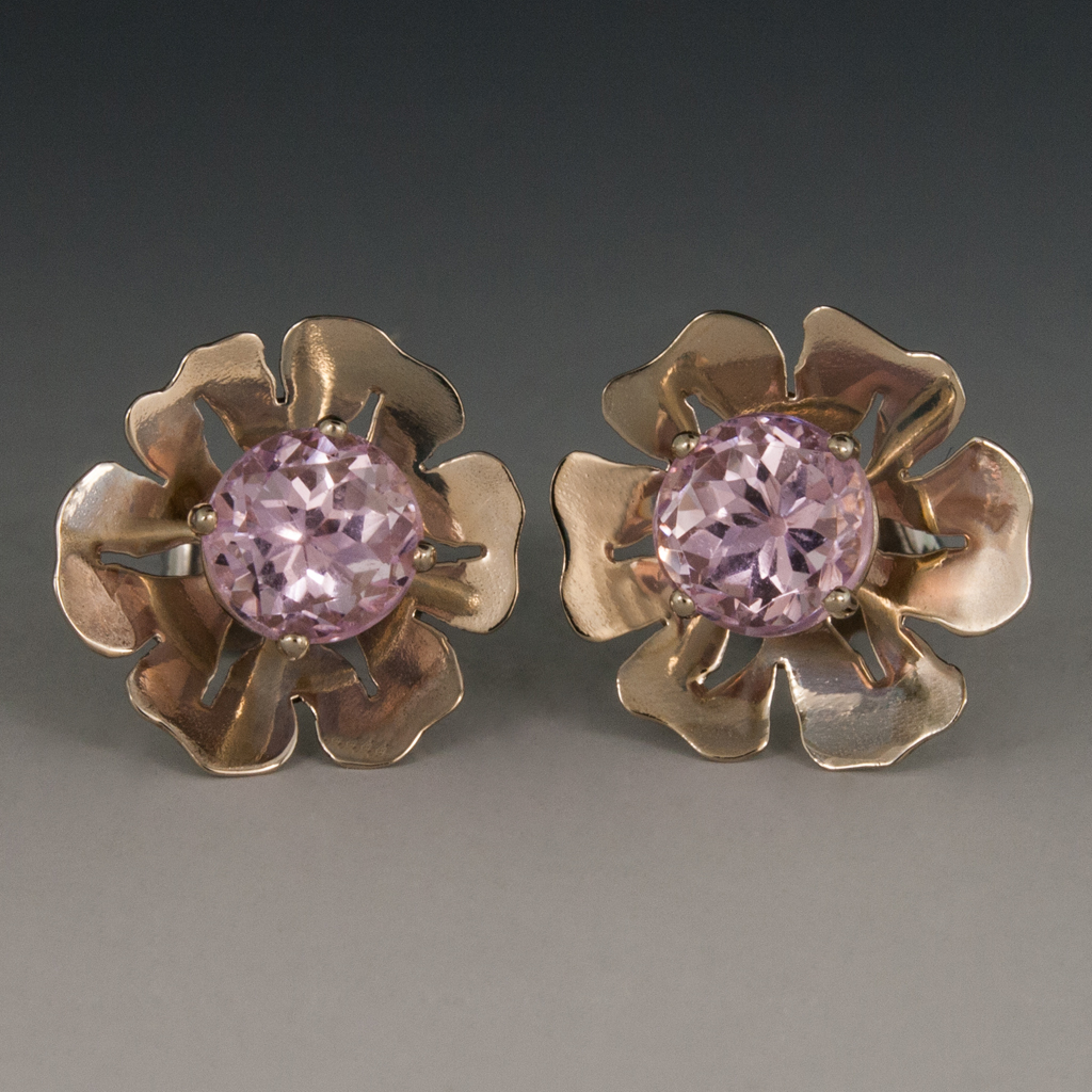 14k White Gold Kunzite Flower Earrings