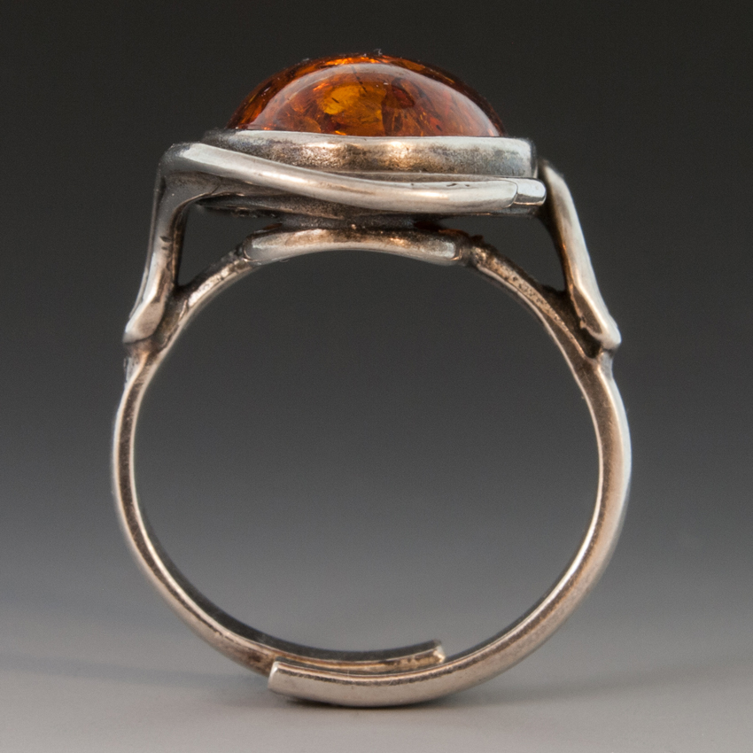 Sterling Silver Ring W Large Amber