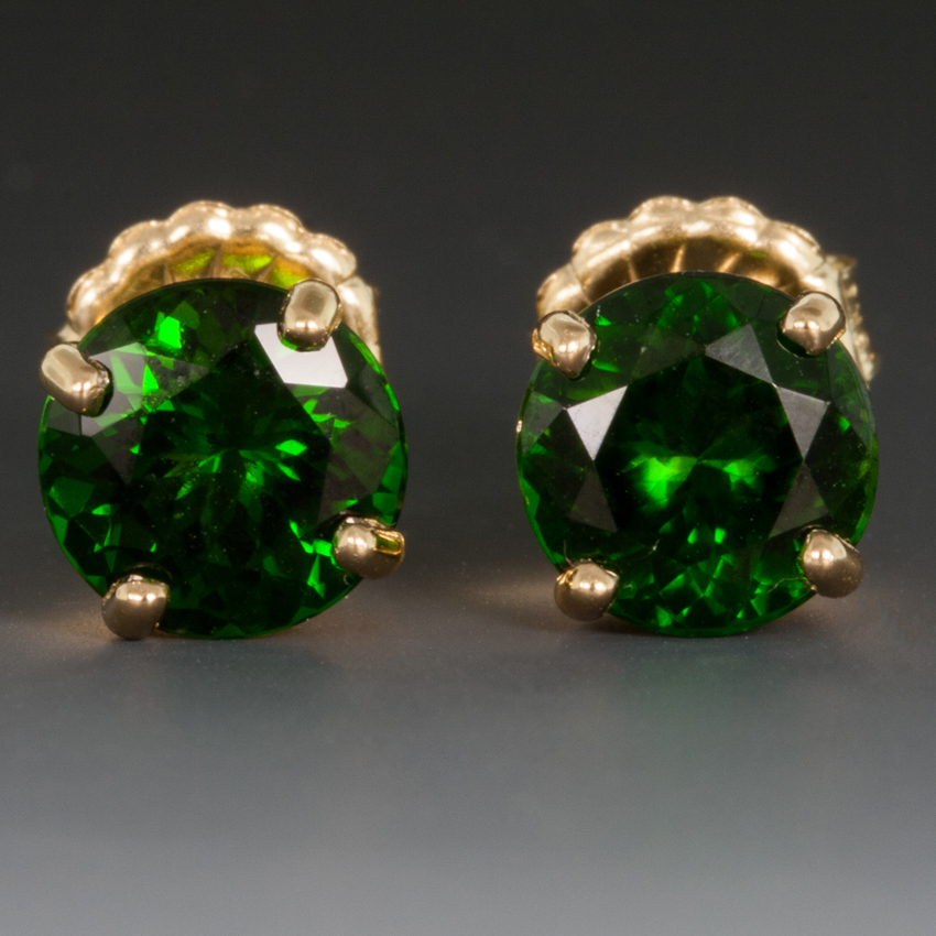 18ky Ear Studs W Imperial Chrome Diopside