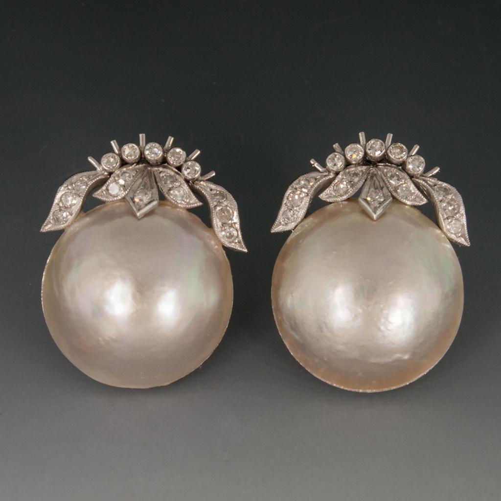 Platinum Mabe Pearl Earrings