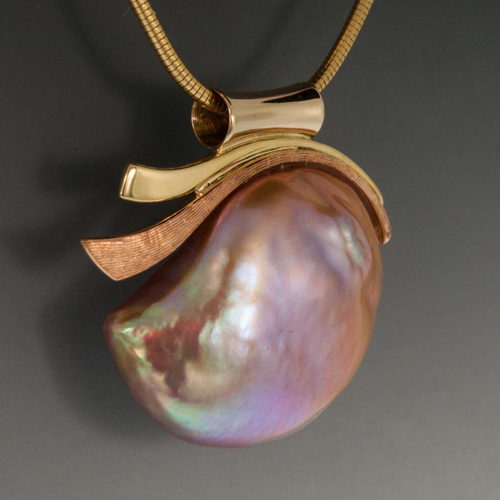 14 18k Pendant Large Pink Baroque Freshwater Pearl