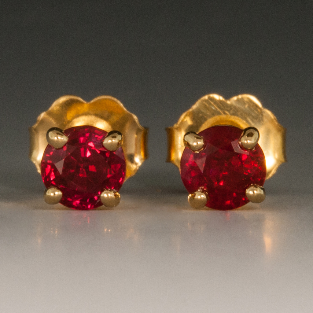 18k Yellow Gold Pee Ruby Studs 0 88cttw 4mm