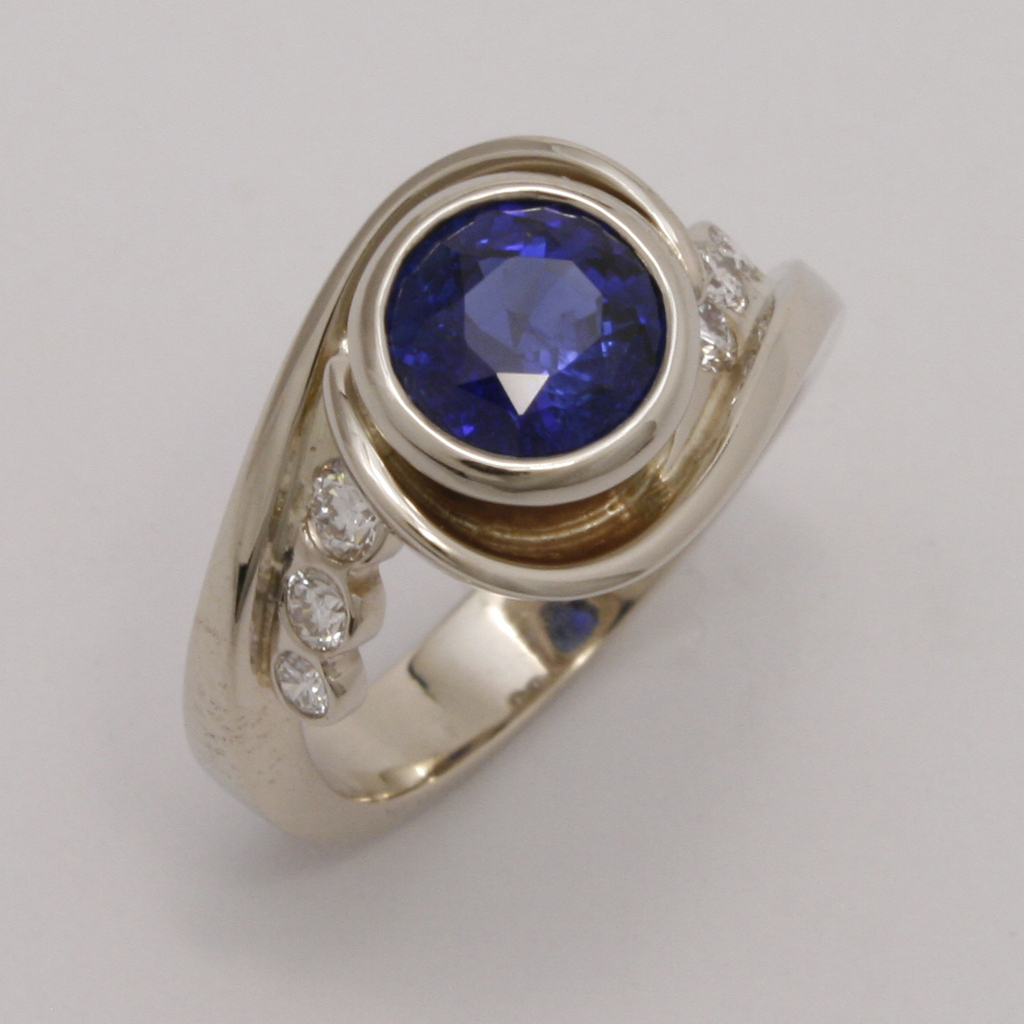 18k White Gold Wrap Ring W Blue Ceylon Sapphire Amp Diamonds