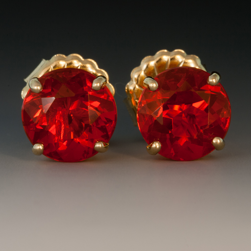 18k Yellow Gold Mexican Fire Opal Ear Studs 4 13 Carats