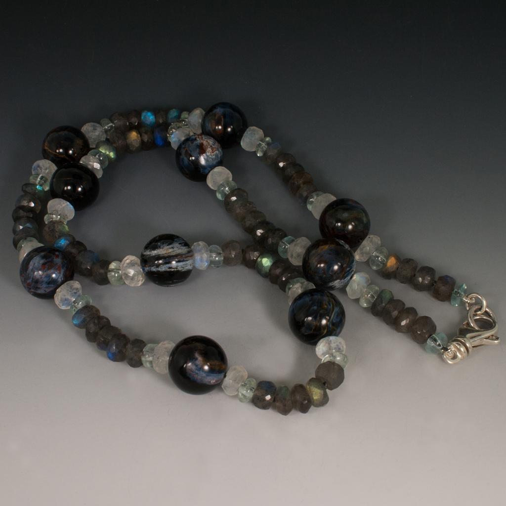 Necklace Pietersite Moonstone Aquamarine Amp Labradorite