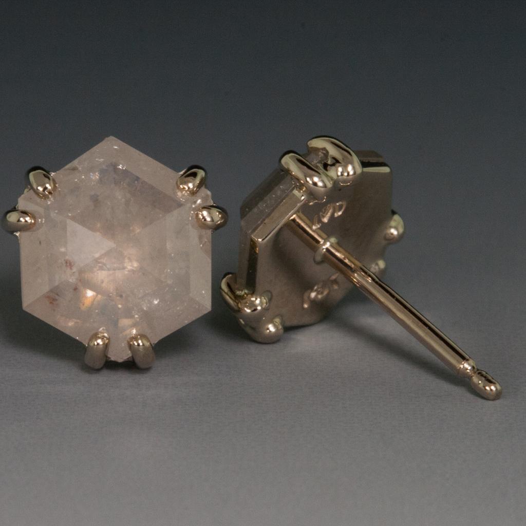 14kw Rose Cut Grey Diamond Ear Studs