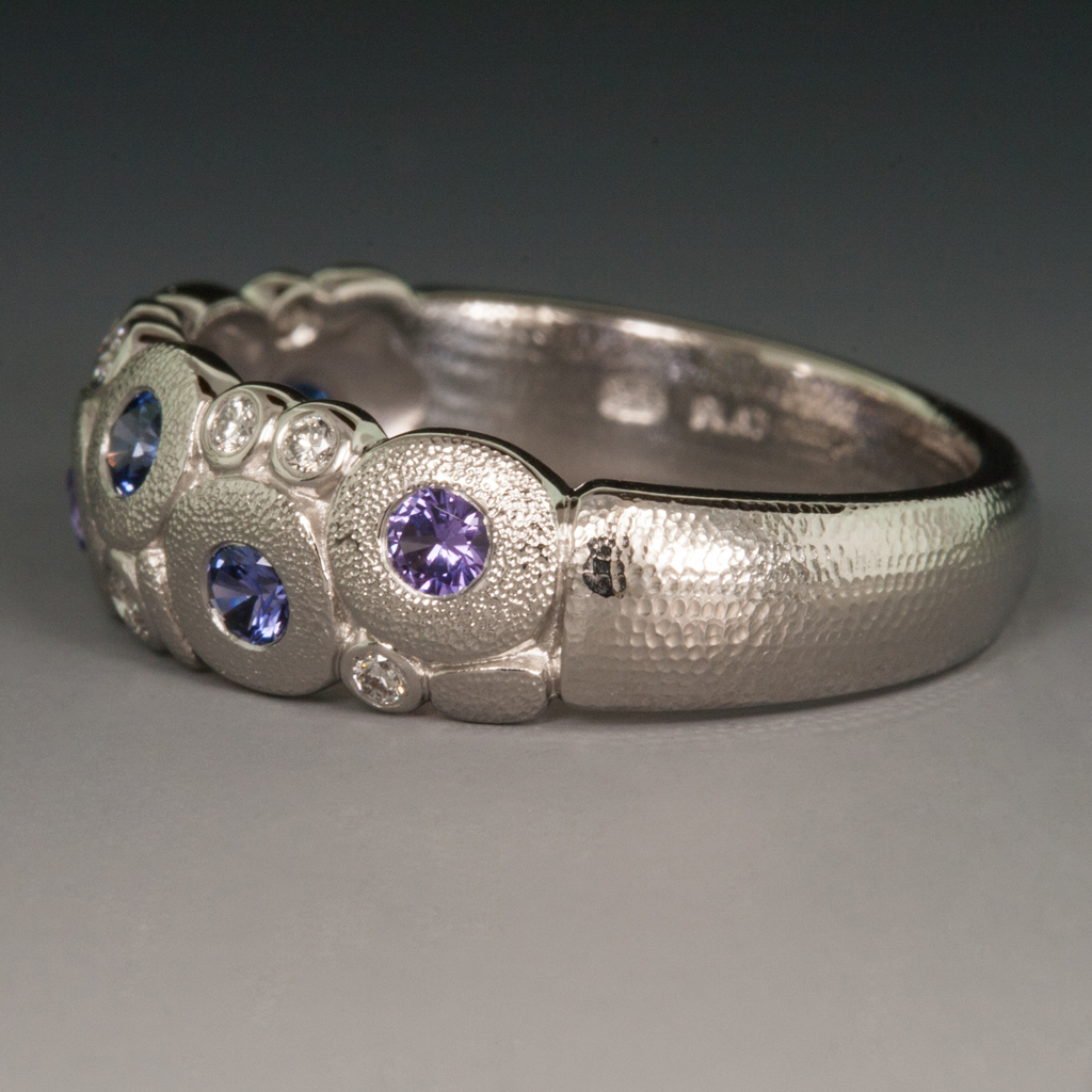 platinum quotcandyquot ring wbluepurpleviolet sapphires