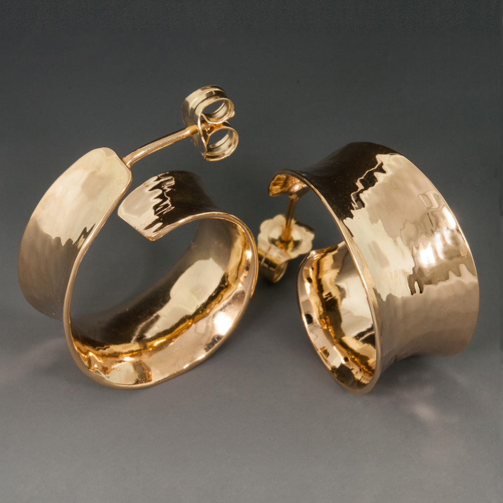 14k Yellow Gold Earrings Concave Hammered Hoops