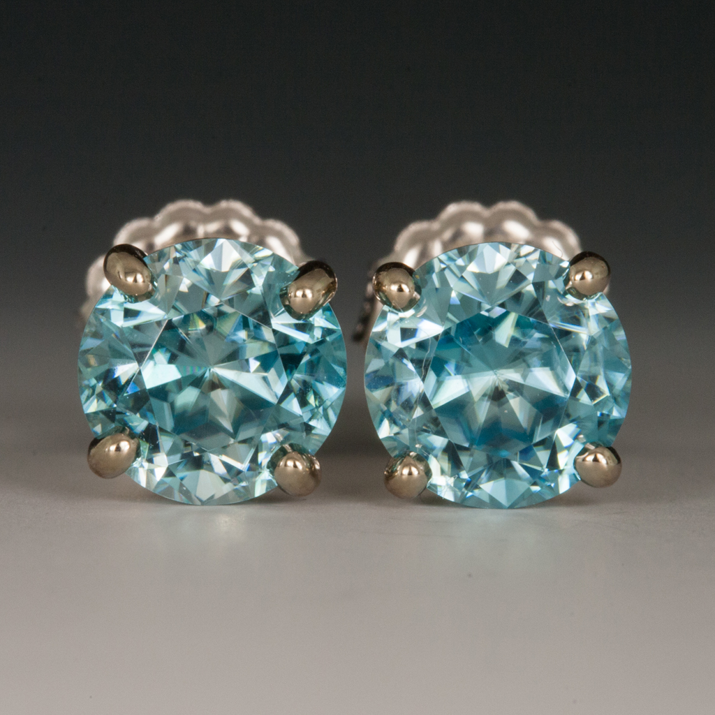 9cef59c21 Ear Studs, Blue Zircon, 14K White Gold -